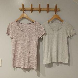 Loft -- 2 t shirts XS & S, grey and purple stripe